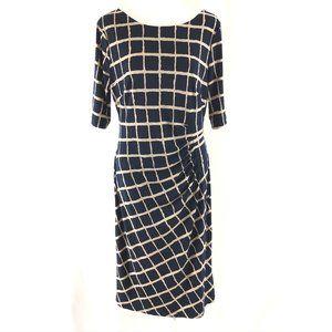 Covington Sheath Dress Ruched Geometric Stretch 10